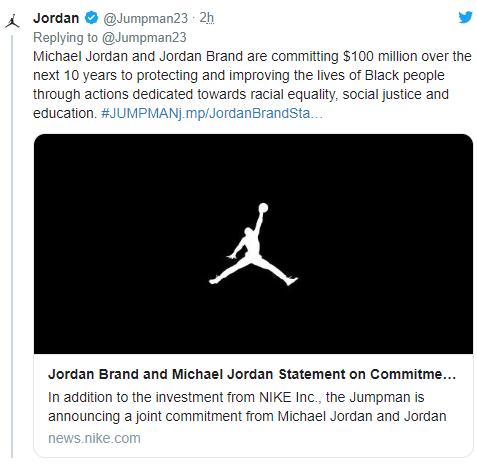 曝乔丹和旗下品牌承诺未来十年内将捐1亿美金 坚决对抗种族主义