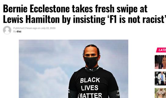 前F1总裁怼小汉:不要纠结肤色 想想你的思想啥颜色