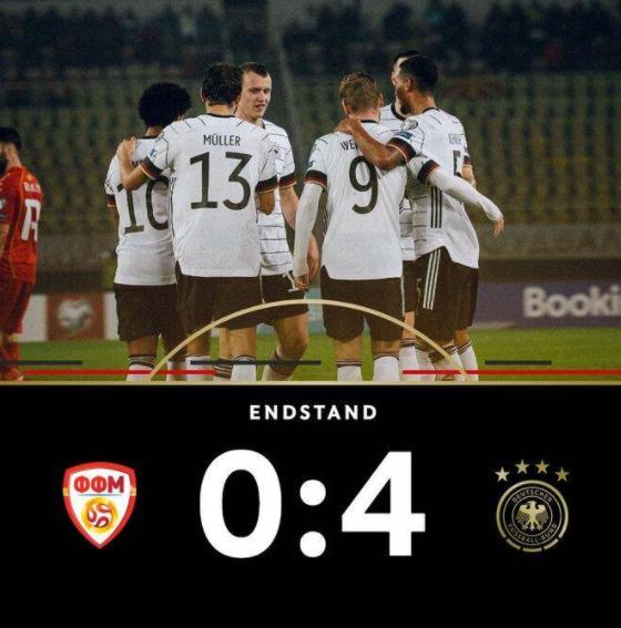 世预赛-德国4-0北马其顿 晋级世界杯 维尔纳双响哈弗茨破门